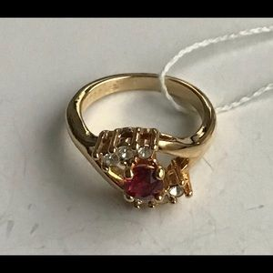 Women 14KT GE Ring Ruby Red Stone Rhinestone